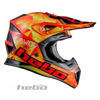 Hebo Hjelm Sway – Glassfiber – Cross/Enduro – Orange/rød